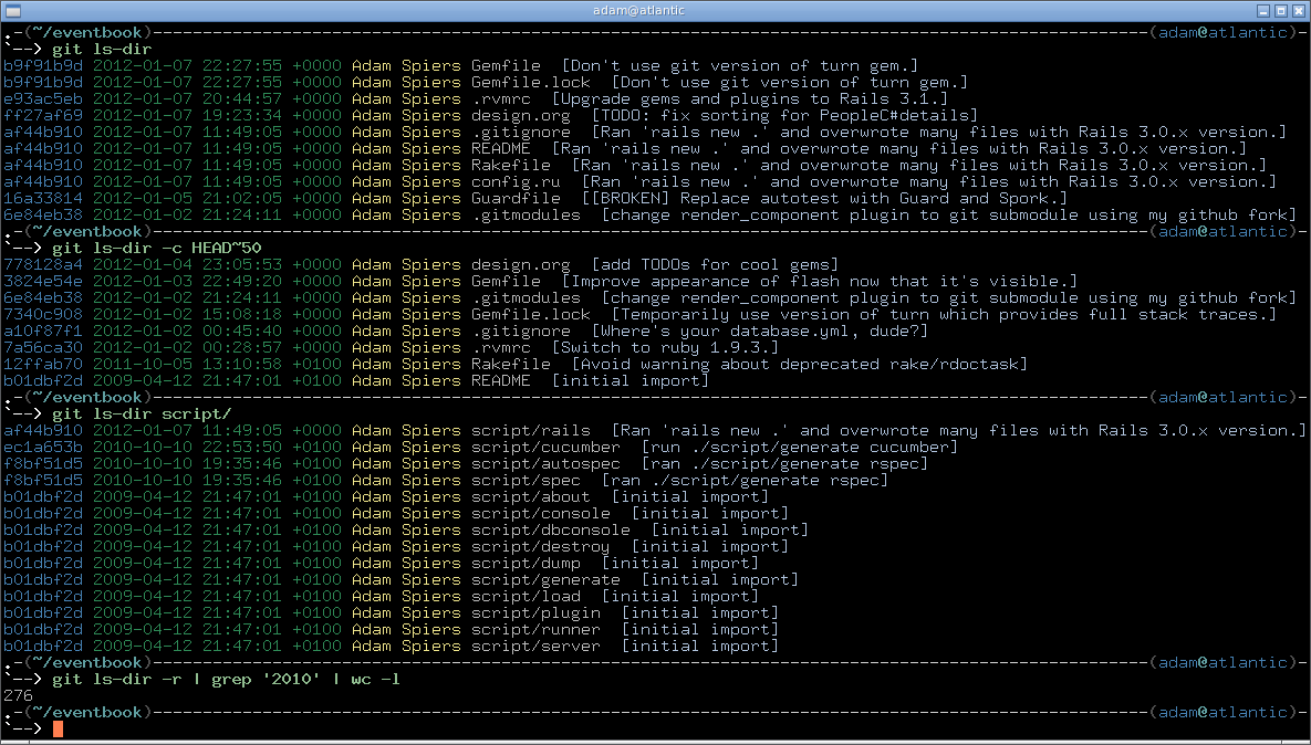 screenshot of git-ls-dir runs